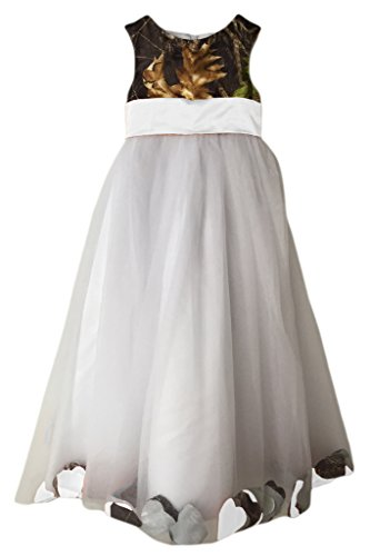 MILANO BRIDE Girl's Prom Dress Wedding Party Gown Camo Long Empire-Waist Tulle -Child 7-White&Camo