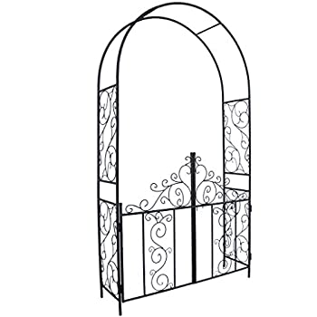 Superb Go Steel Garden Arch With Gate, 7u00275 High X 4u00272 Wide, Garden Arbor For  Various Climbing Plant, Outdoor Garden Lawn Backyard