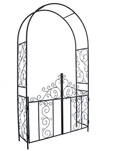 1. GO Steel Garden Arch with Gate, 7'5'' High x 4'2'' Wide, Garden Arbor for Various Climbing Plant, Outdoor Garden Lawn Backyard