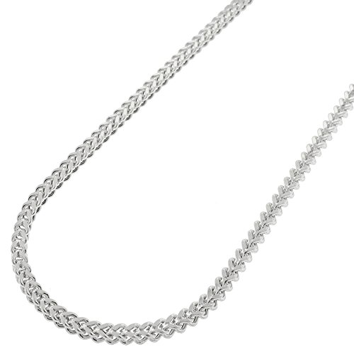 2.5 Mm Franco Chain (Sterling Silver 2.5mm Hollow Franco Square Box Link 925 Rhodium Necklace Chain 18
