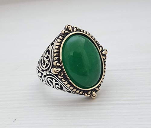(Beautiful Handcrafted 925K Sterling Silver Mens Ring With Green Quartzite Jade Stone)