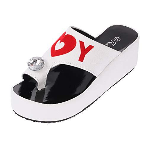Women Summer Platform Sandals Wedges Shoes Thong Flip Flops Ultra Comfort Slippers Toe Loop Flat Sandals White