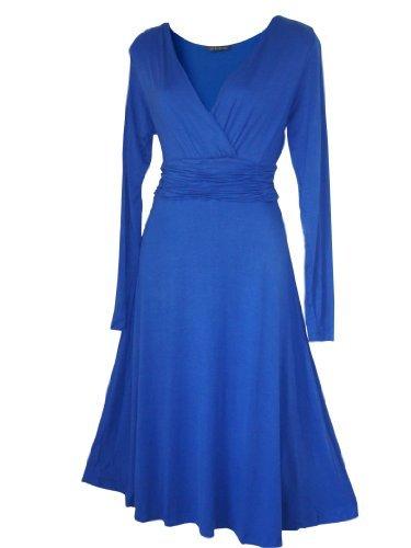 Robe Femme Sexy STYLE VINTAGE ,élégante/Robe de cocktail ,robe à manches longues, Disponible en différents coloris,Taille 36 - 52 (46, Bleu Royale)