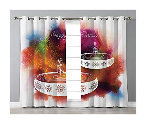 Goods247 Blackout Curtains,Grommets Panels Printed Curtains Living Room (Set of 2 Panels,55 84 Inch Length),Diwali Decor