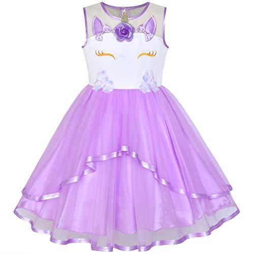 (Girls Dress Unicorn Pageant Holiday Purple Tutu Princess)