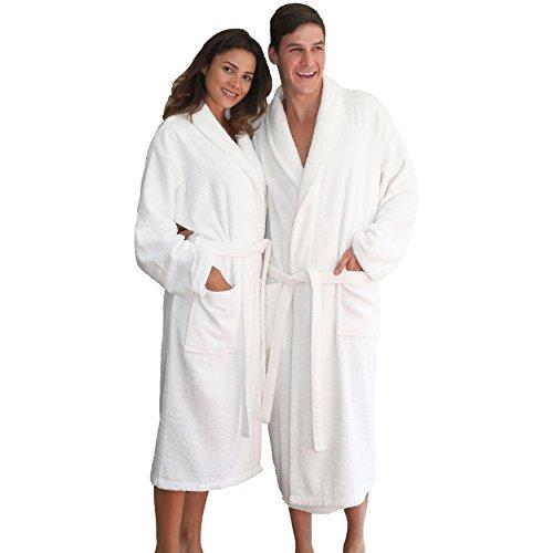 Linum Home Textiles 100% Turkish Cotton Unisex Terry Cloth Bathrobe, White, (100% Cotton Terry Cloth)