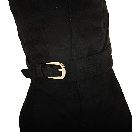 Footwear Sensation - Botas para mujer - Black with Gold Buckle