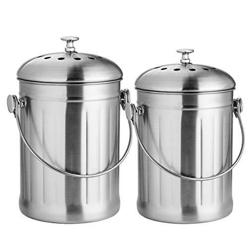 ENLOY Stainless Steel Compost Bin Set 1.3 Gallon and 0.8 Gallon with 4 Charcoal Filters and Carrying Handle for Kitchen Food Waste, Easy Clean Compost Bucket for Kitchen Countertop, 2 Pack