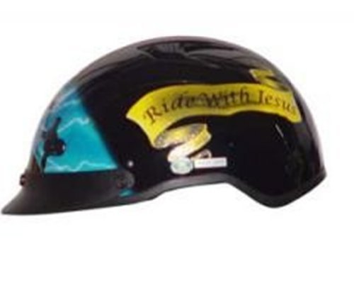 DOT VENTED BLUE CROSS CHRISTIAN MOTORCYCLE HALF/BEANIE HELMET-XL (Shorty Beanie Helmet Dot)