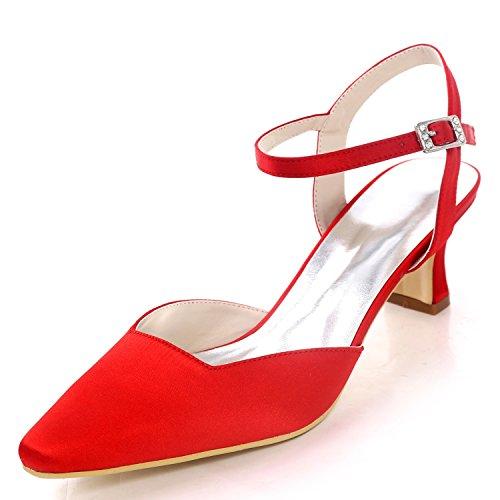 5cm Red Talons Tribunal Chaussures De Elobaby Hauts Boucle Mode La Femmes Robe Escarpins Talon Satin5 Mariage À 34ALj5R