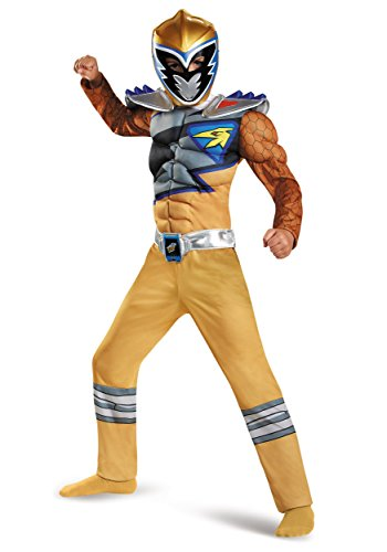 Disguise Gold Ranger Dino Charge Classic Muscle Costume, Large (10-12) (Dino Charge Costume)