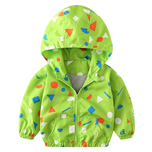 - FEITONG Children Baby Coat Autumn Jacket Outerwear Print Hooded Windbreaker Clothes(12-18M,Green)