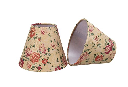 32003-2 Small Hardback Empire Shape Chandelier Clip-On Lamp Shade Set (2 Pack), Transitional Design in Floral Print, 6