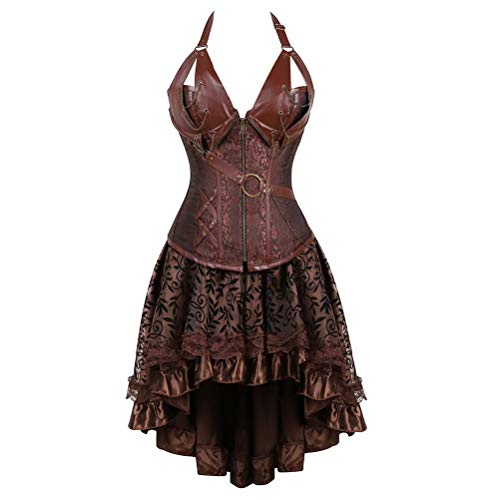 Corset Dress Women's Steampunk Clothing Vintage Halloween Costume Gothic Leather Corset Bustier Skirt Set Brown 2XL -