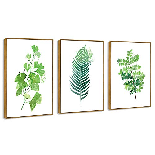 - Hepix Canvas Wall Art Tropical Leaves Canvas Print Framed Wall Paitings Wrapped Real Wood Modern Home Decorations for Bedroom Living Room Bathroom 24