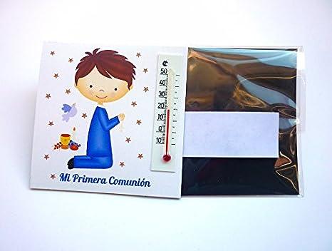 Recuerdos y Regalos de Comunión para invitados. Imanes con termómetro como detalle para comuniones Bonitos y Originales. Pack 20 unidades.
