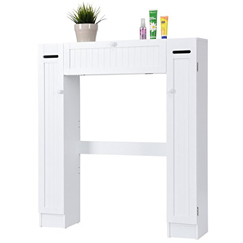 Over The Toilet Storage Wooden Cabinet Drop Door Spacesaver Bathroom White by Allblessings