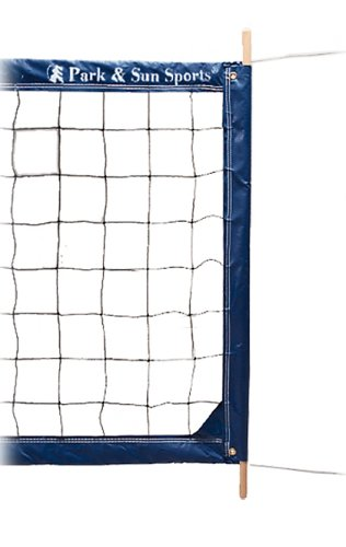Park & Sun Sports Regulation Size Indoor/Outdoor Professional Volleyball Net with Steel Cable Top and Bottom, Blue by Park & Sun Sports