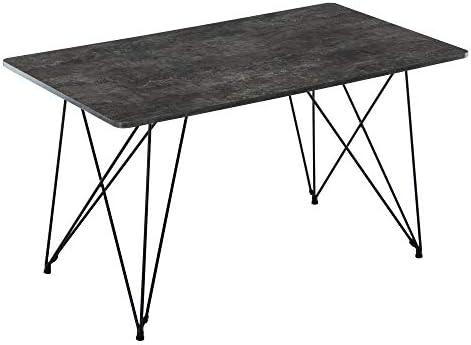 DAGONHIL Modern Wood and Metal Pedestal Rectangle Dining Table