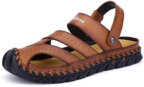 メンズサンダル 漁師ウォーターシューズ調節可能なウォーキングクローズド足トレッキングコンフォートカジュアル通気性ノンスリップアスリートサンダル アウトドア防水靴 (Color : Brown, Size : 39)