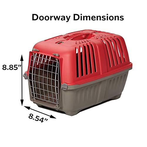 Pet Carrier: Hard-Sided Dog Carrier, Cat Carrier, Small Animal Carrier in Red| Inside Dims 20.70L x 13.22W x 14.09H & Suitable for Tiny Dog Breeds | Perfect Dog Kennel Travel Carrier for Quick Trips