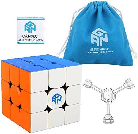 Coogam GAN 356 R Speed Cube Gans 356R 3x3 Stickerless Gan356 R 3x3x3 Speedcube GES V3 System with Extra Blue Pouch