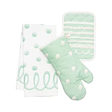 Kate Spade New York 3pc Kitchen Set - Oven Mitt, Pot Holder & Kitchen Towel, Mint Icing