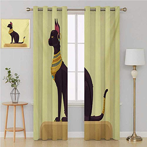 Benmo House Egypt Gromet Curtain Customized Curtains,Antique Ancient Times Mystical Cartoon Style Cat with Earring Image Kids Curtains 84 by 84 Inch Pale Yellow Mustard Plum