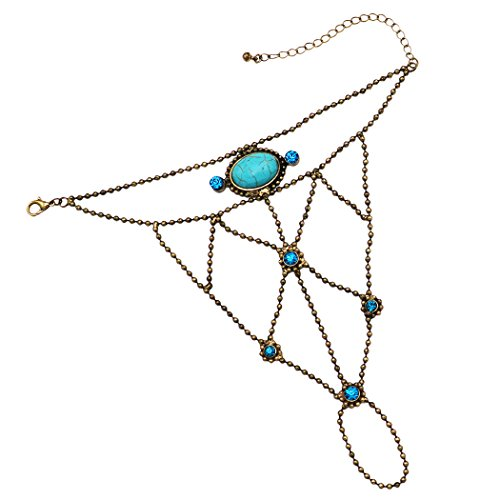 Rosemarie Collections Women's Boho Turquoise Howlite Hand Chain Bracelet and Ring (Gold) -