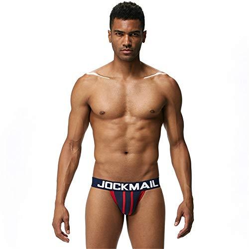 Mens Srexy Underwear Jockstraps Briefs Bikini Men Jockstraps G Strings Backless Buttocks (M, Naveblue) by Jockmail (Image #3)