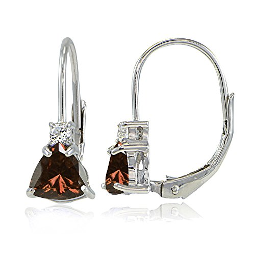 Cut Garnet Dangling Earrings - Sterling Silver Genuine Garnet & White Topaz Trillion-Cut Leverback Drop Earrings