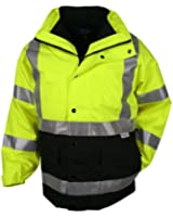 Tri-Mountain Industry 3-in-1 Waterproof Safety Parka, Lime Green/black