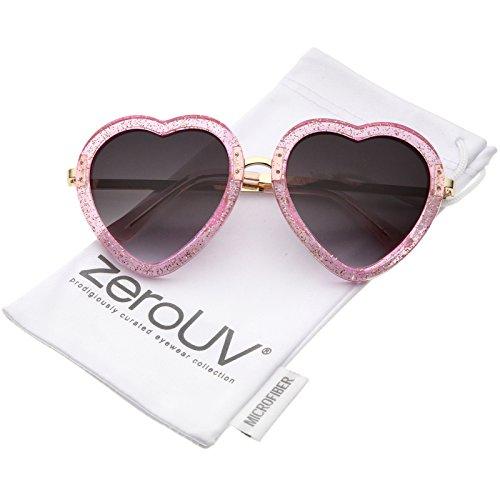 Womens Transparent Glitter Frame Metal Temple Heart Shaped Sunglasses 53mm