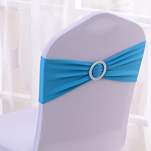 Gold Fortune 50PCS Stretch Wedding Chair Bands With Buckle Slider Sashes Bow Decorations 25 Colors (Sky Blue)