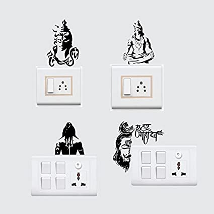 Sticker Yard Vinyl Lord Shiva Wall Decal Switchboard Sticker 25x25cm Black Set Of 4