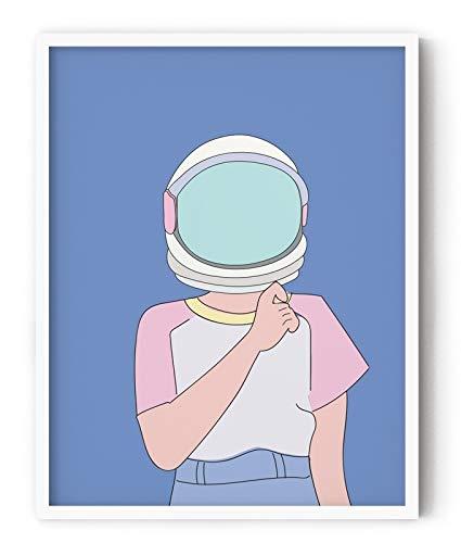Buy Grey Outline Minimal Space Girl Drawing Framed Poster For