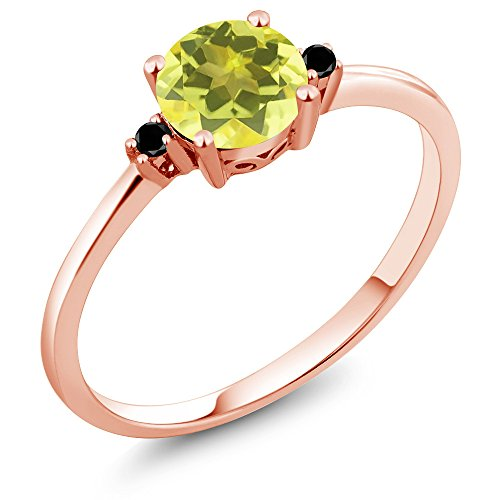 (Gem Stone King 10K Rose Gold Engagement Solitaire Ring set with 1.03 Ct Round Canary Mystic Topaz and Black Diamonds (Size 9))