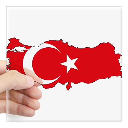 CafePress Turkish Flag Silhouette Sticker Square Bumper Sticker Car Decal, 3