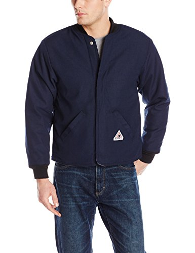Bulwark Flame Resistant 4.5 oz Nomex IIIA Regular Sleeved Jacket Liner with Two Large Slash-Welted Pockets, Heavy Rib-Knit Collar and Cuff, Navy, Medium ()