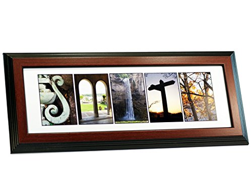 Creative Letter Art - Personalized Framed Name Sign with Nature Related Alphabet Photographs including Mahogany Self Standing - Sample Frames Glasses