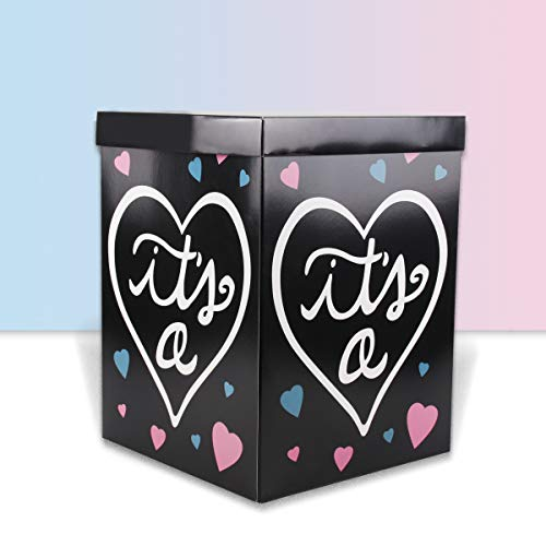 Gender Reveal Box With Balloons (Gender Reveal Balloon Box - DIY Baby Gender Reveal Party Supplies Paper Box for Gender Reveal Decorations Baby Shower Home)