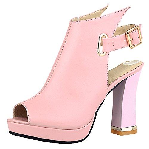 Soiree Pink Toe Sandales JOJONUNU Femmes Peep AwFEq6nHtx