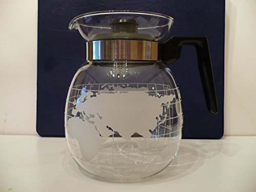 Brand New Vintage Nestle Nescafe Etched Glass World Globe Coffee 6-Cup Carafe w/ Lid and Metal Stove Top Burner Spacer NOS Original Styrofoam Packaging - Etch Glass Antique