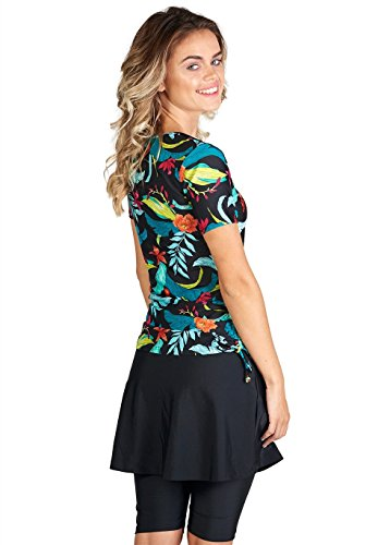 8a699fff3c Ella Mae Women s Modest 2 Piece Swimsuit Set with Short Sleeve Rash Guard  Swim Shirt and