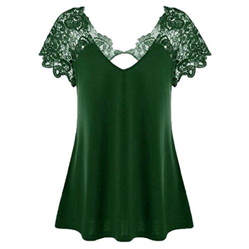 FEITONG Womens Fashion V-Neck Lace Short Sleeve Trim Cutwork T-Shirt Tops Plus Size, ()