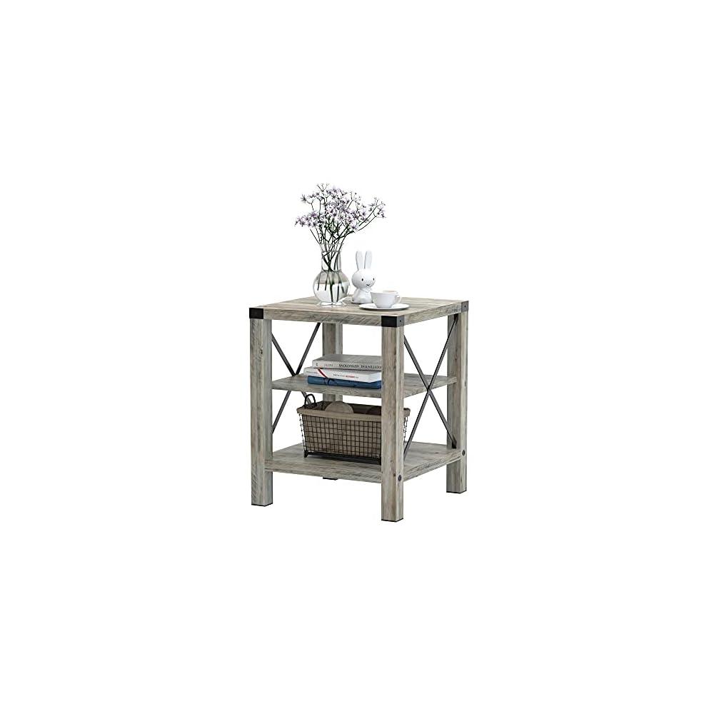 IDEALHOUSE Rustic Coffee Table, Farmhouse Accent Cocktail Table Storage Shelf, Industrial Wood Look Tea Table, Sofa…