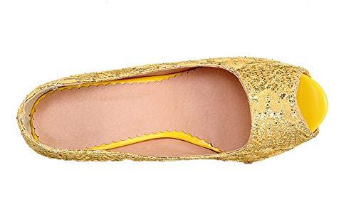 Sandales Femme Haut Talon Paillette Tissu TSFLH007137 à Jaune Petite Ouverture AalarDom à BdwzFApzq
