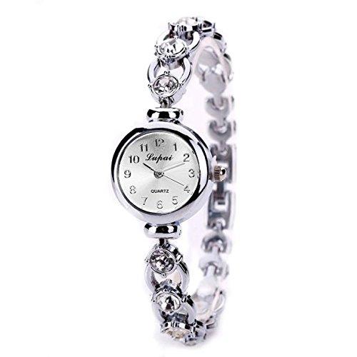 Yesmile Relojes❤️LVPAI Moda Lujo Mujeres Relojes Pulsera Reloj Regalo (Plata)