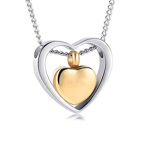 (Double Heart Urn Necklace for Ashes - Cremation Jewelry Memorial Keepsake Pendant - Funnel Kit Included (Gold))