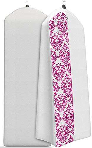 "Gusseted Wedding Dress Garment Bag - For Long Puffy Gowns - 72"" x 24"", 20"" Gusset (White With Fuchsia Damask)"